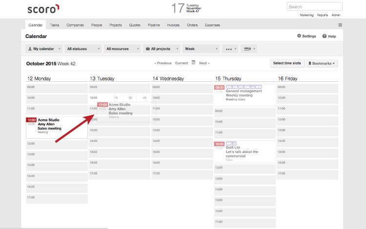 Scoro Calendar and Task View