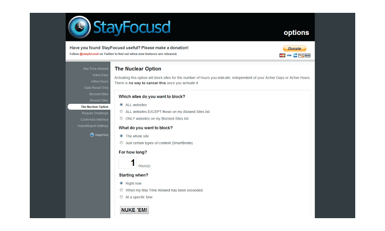 StayFocusd browser extension for productivity