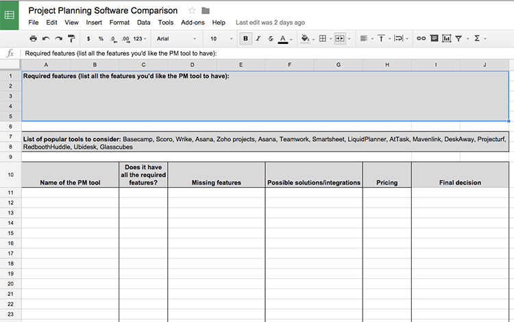 finding project software spreadsheet
