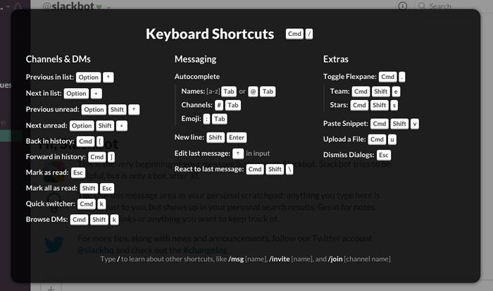 slack shortcuts