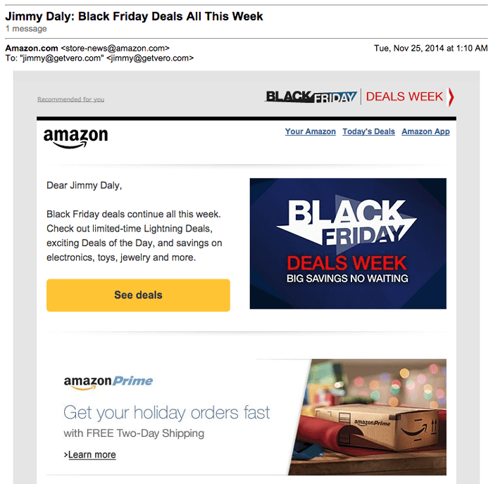 discount email example Amazon