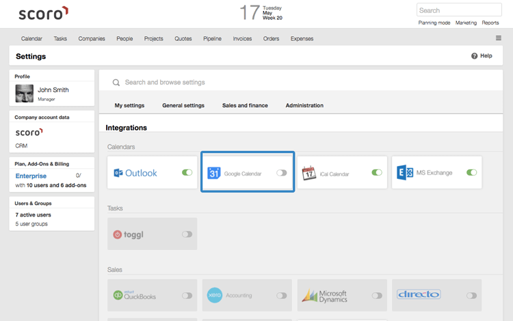 Google Calendar integration
