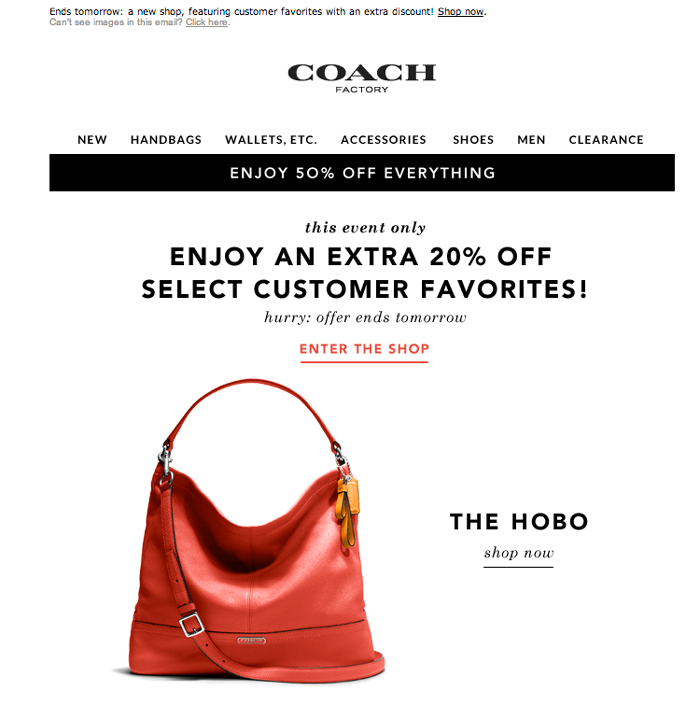 discount email example Coach
