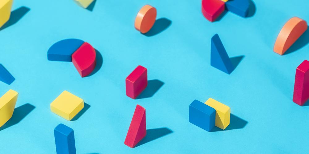 Building blocks on blue background