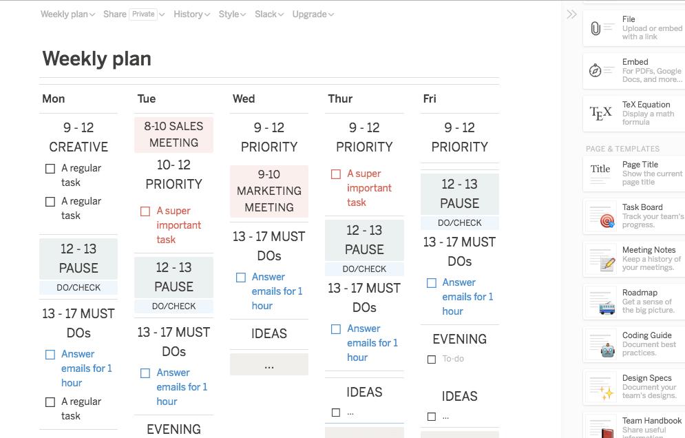 weekly work planning