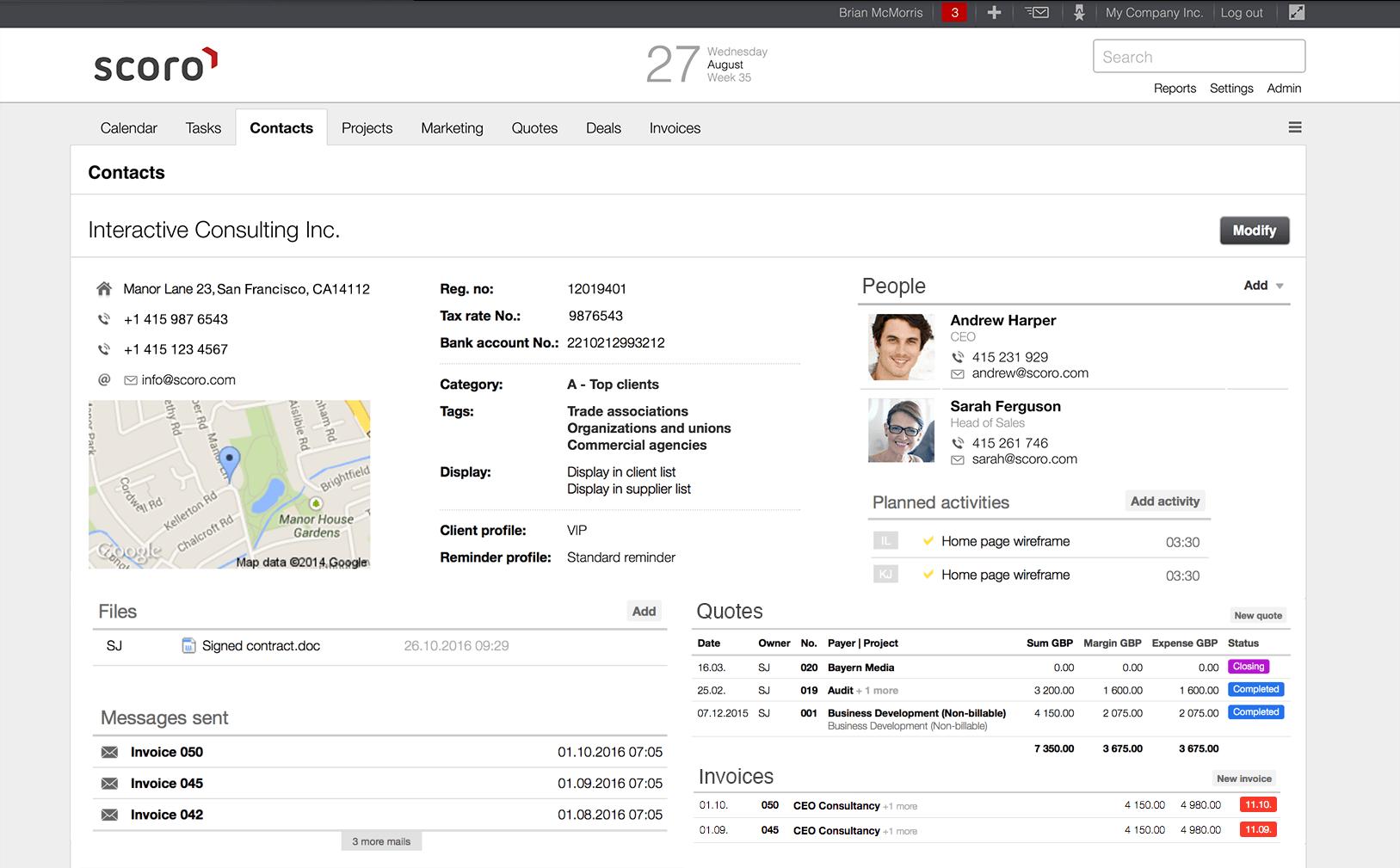 crm, client management
