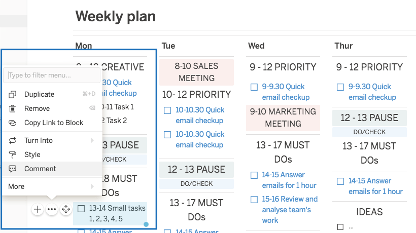 weekly work plan