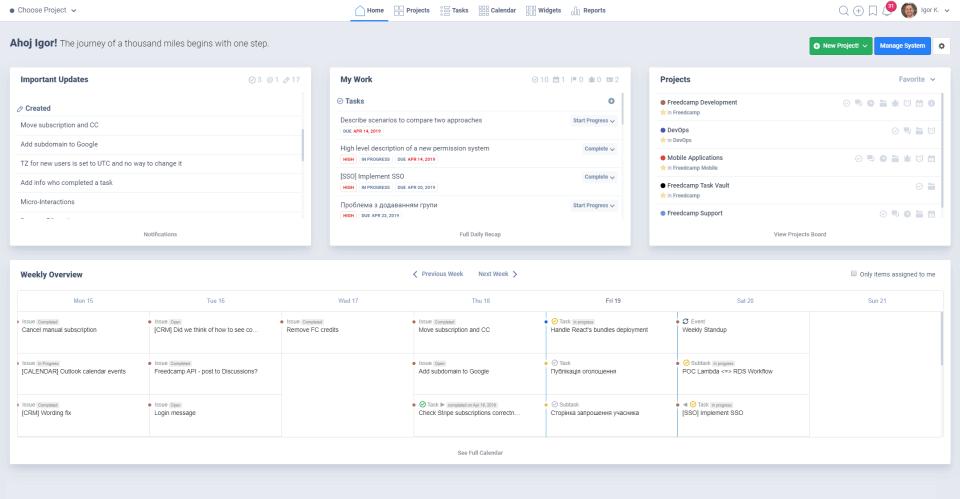 Freedcamp product screenshot