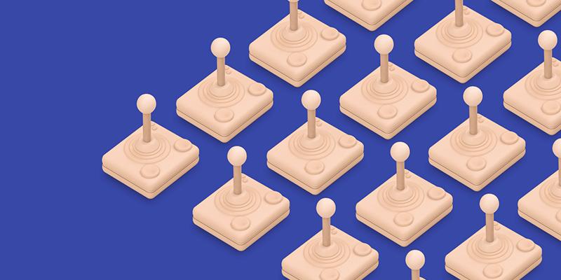 joysticks on blue background