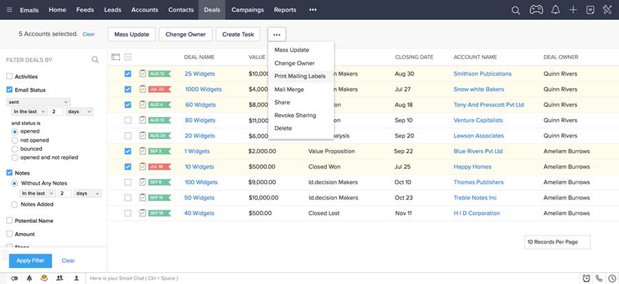 Zoho CRM product screenshot