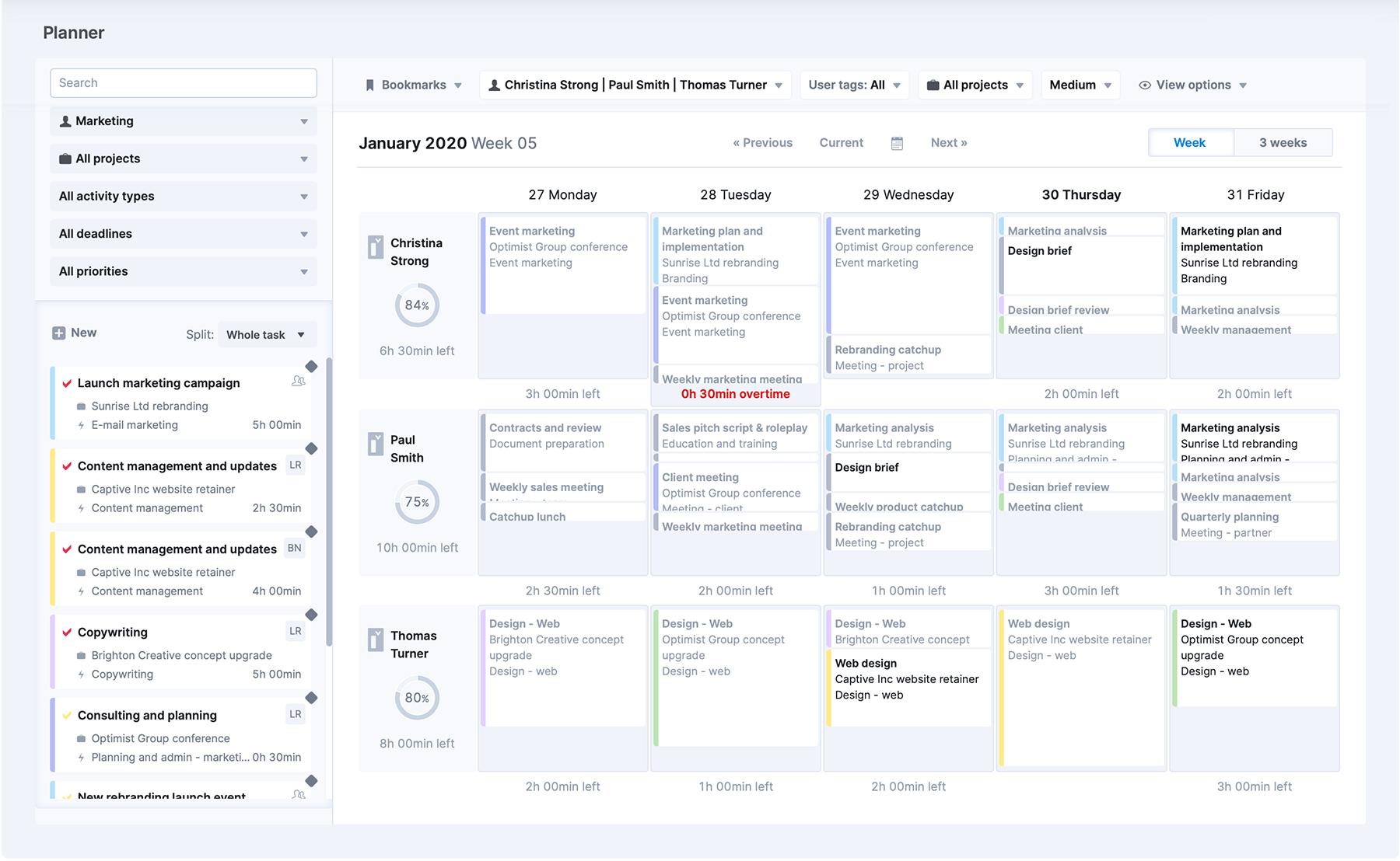 Scoro's Planner - Week view