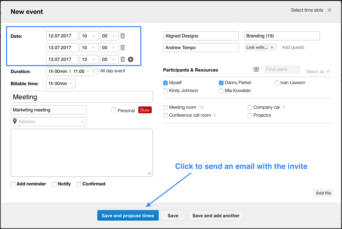 how to automatically send calendar invites outlook
