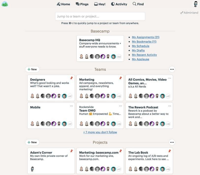Basecamp product screenshot