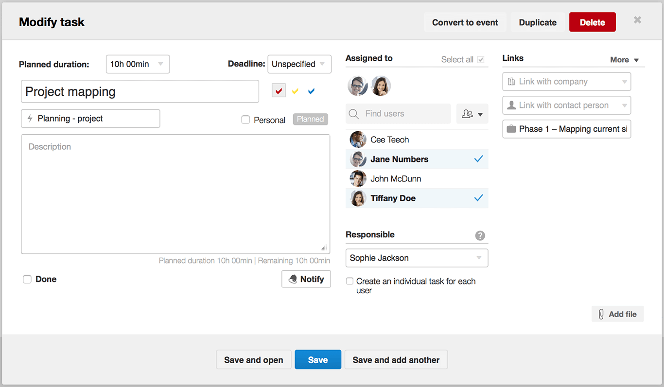 Scoro - Modify task