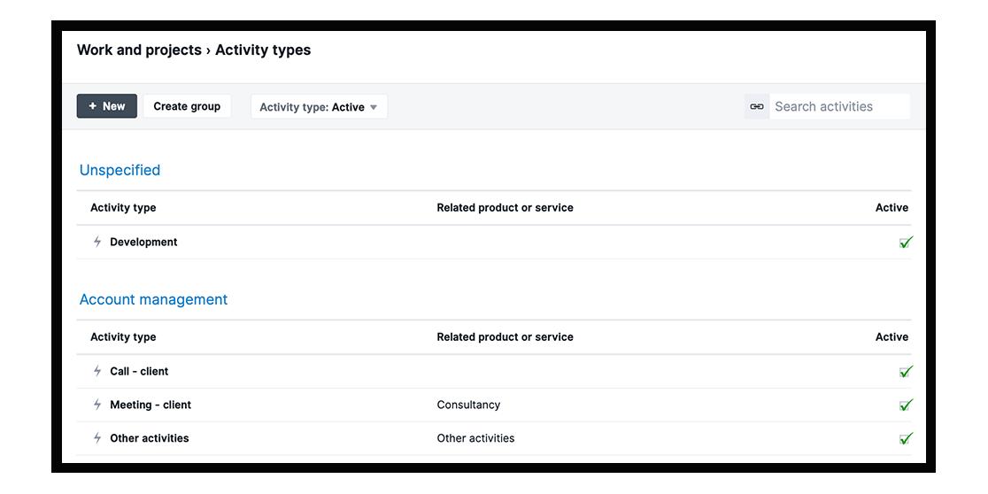 Activity type screenshot Scoro