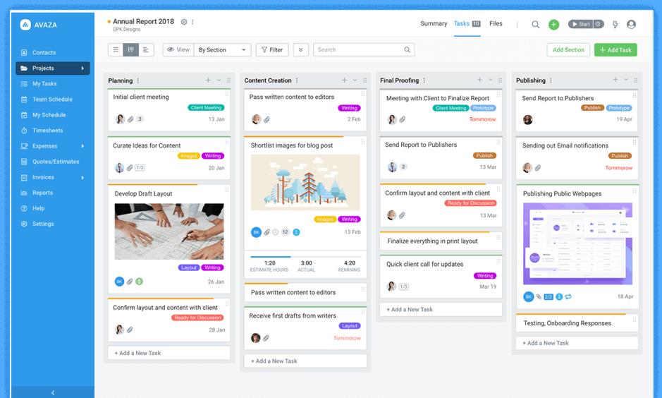 Avaza product screenshot