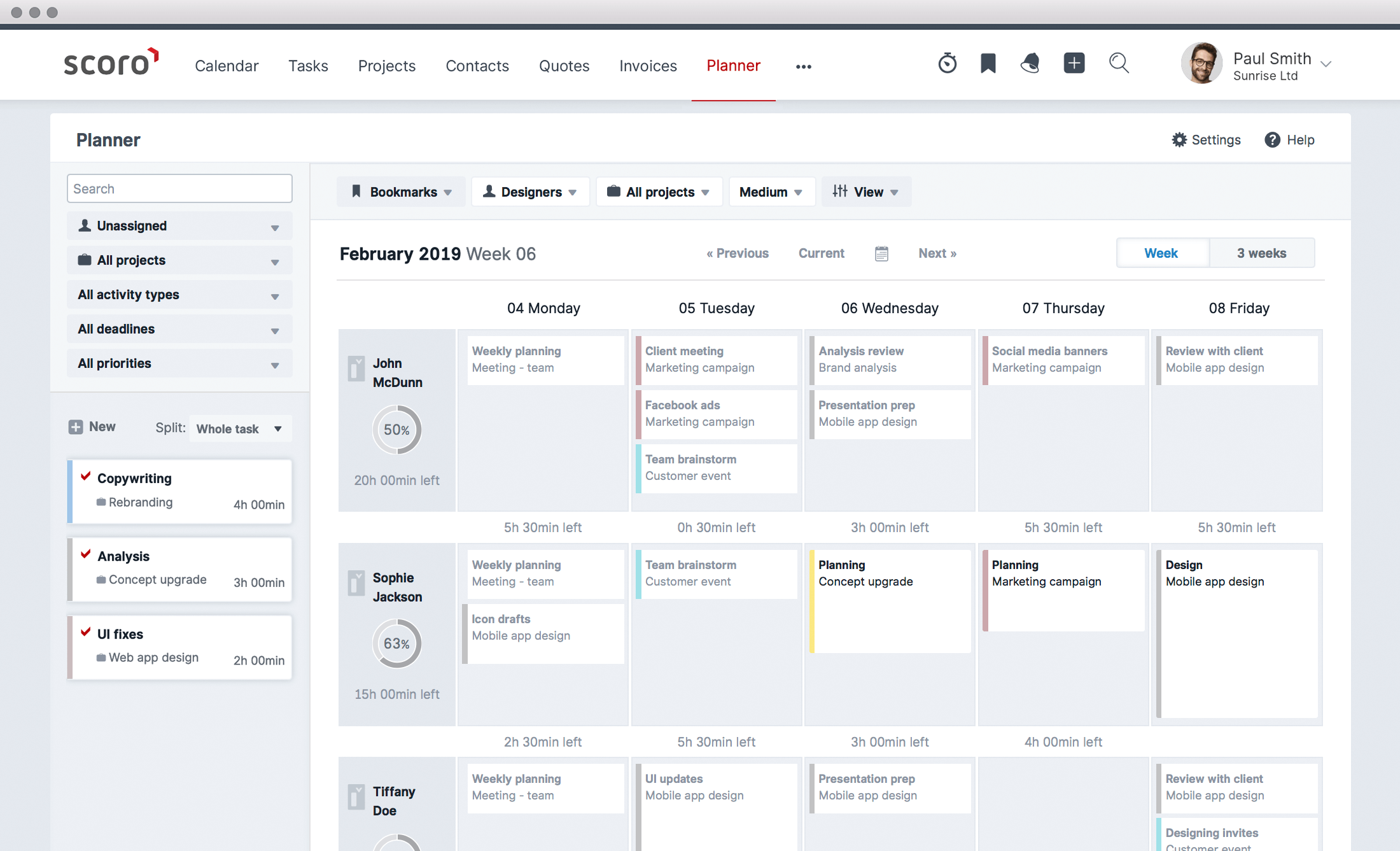 Work planning and scheduling in Scoro