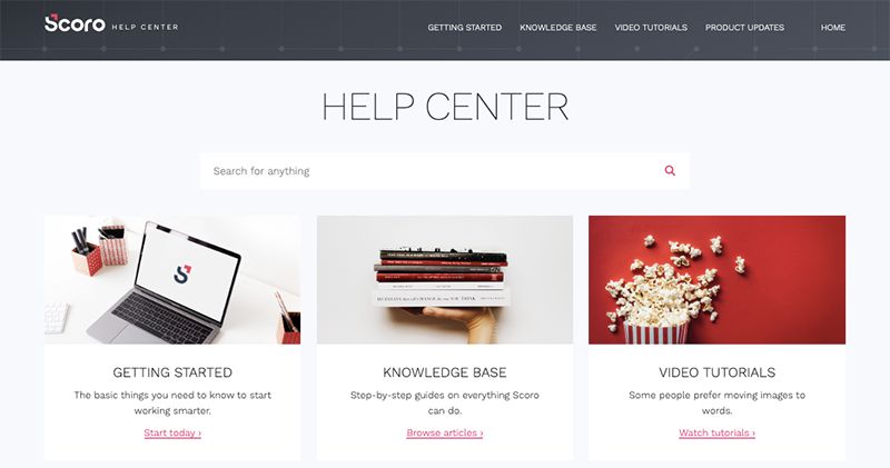 Scoro Help Center Screenshot