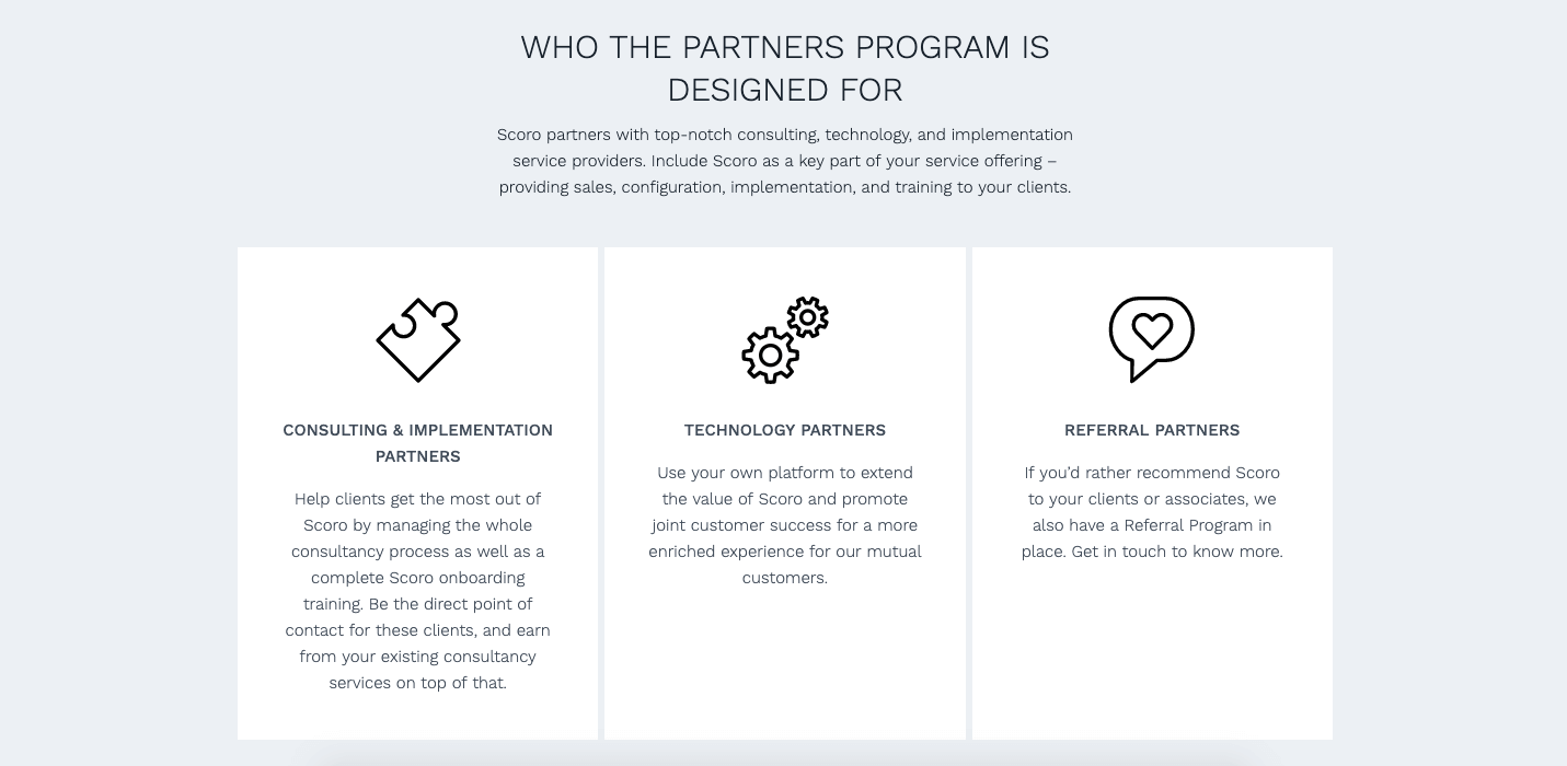 Scoro's partner program options