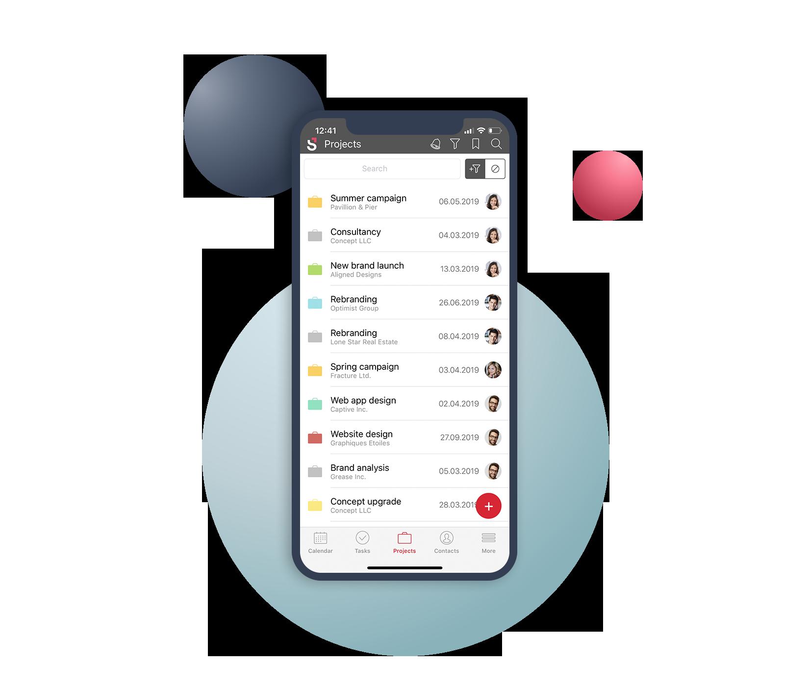 Mobile app visual Scoro