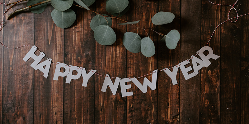 Happy new year in block letters