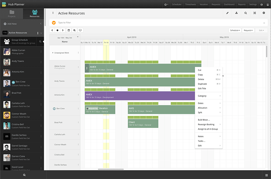 Hub Planner product screenshot