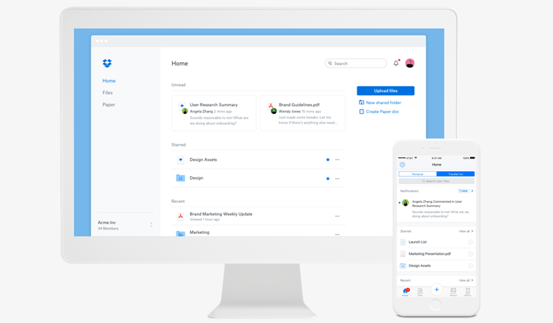 Dropbox product screenshot