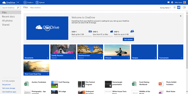 OneDrive product screenshot