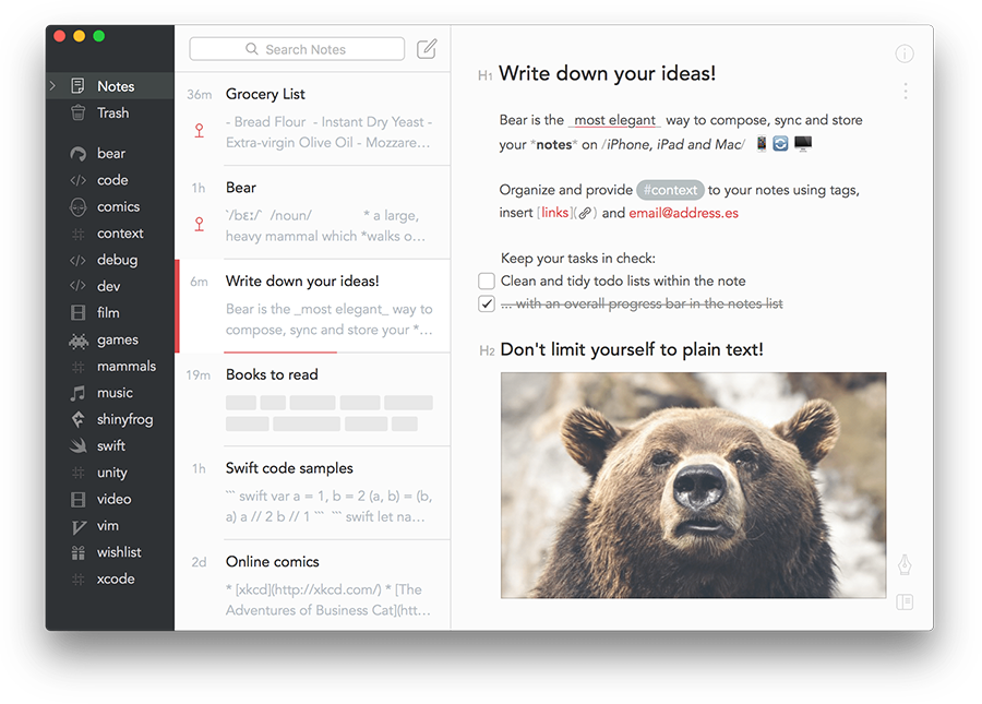 Bear product screenshot