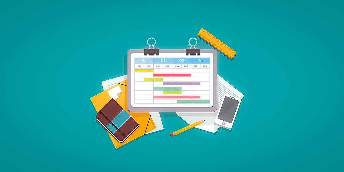 Gantt Chart, notebook and a phone visual