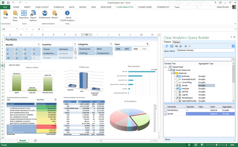 Clear analytics product screenshot