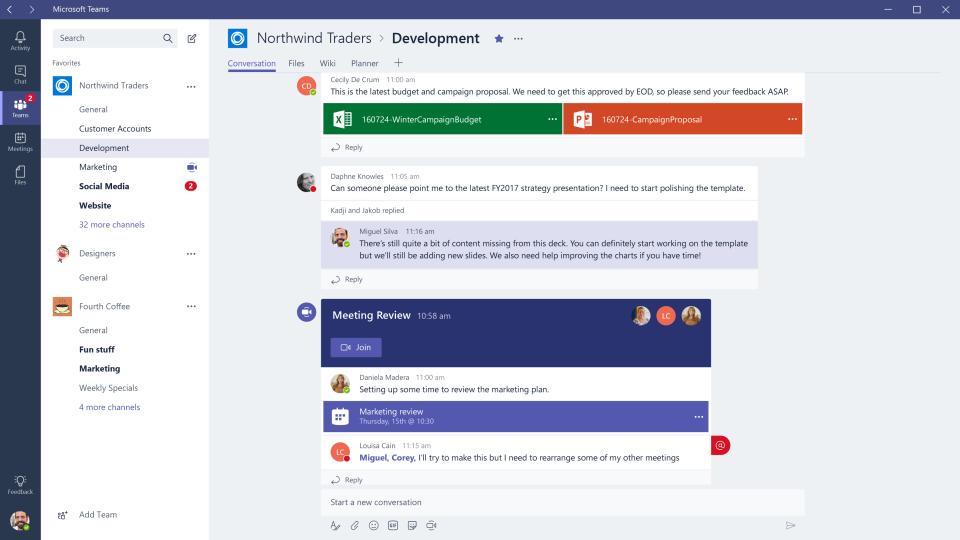 Microsoft Teams product screenshot