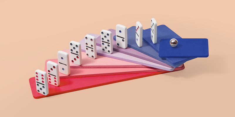 Dominos on colorful blocks