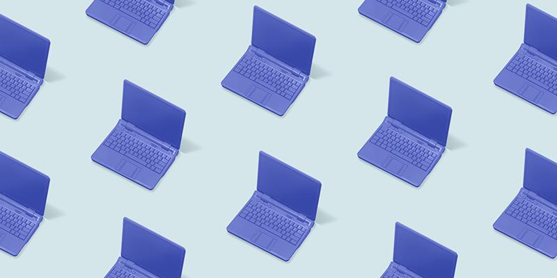 Blue laptops on blue background