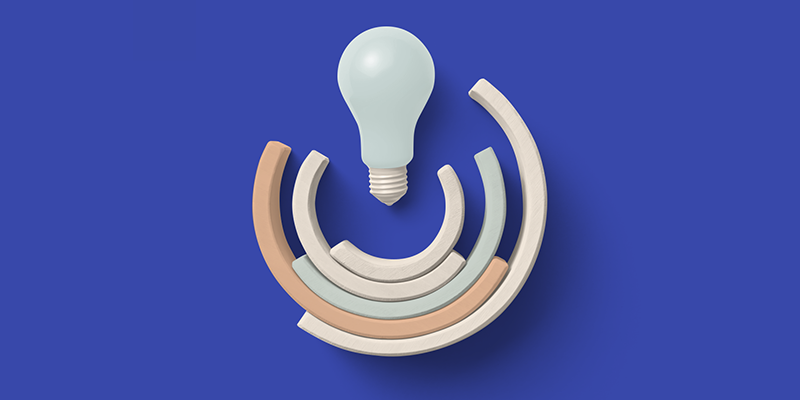 Lightbulb on a blue background