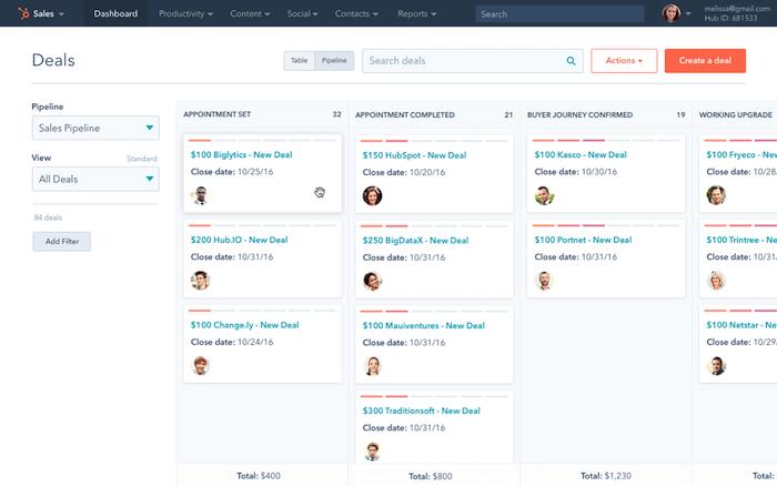 Hubspot product screenshot