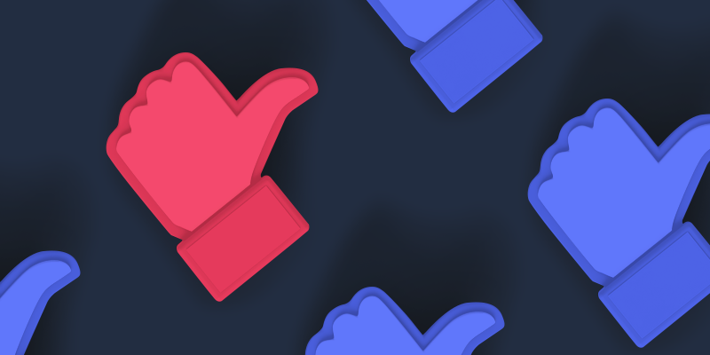 Red and blue thumbs-up on a dark blue background